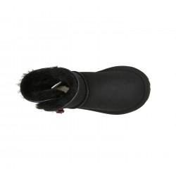 【1件包邮】Ever ugg hello kitty 迷你纽扣雪地靴 黑色#37