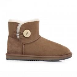 【1件包邮】everugg  雪地靴女皮毛一体短筒一粒扣加绒短靴   栗色